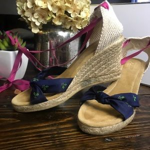 J Crew wrap ankle espadrille wedges